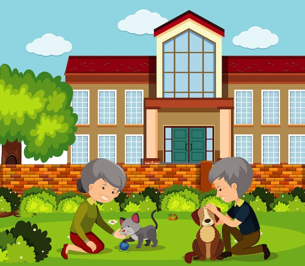 Scene with old people and pets in the park Premium Vector