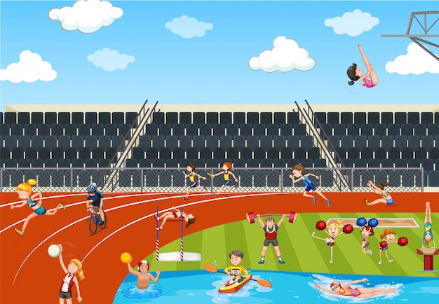 Scene with people doing track and field sports Premium Vector