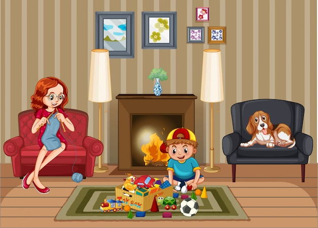 Scene with people in family relaxing at home Free Vector