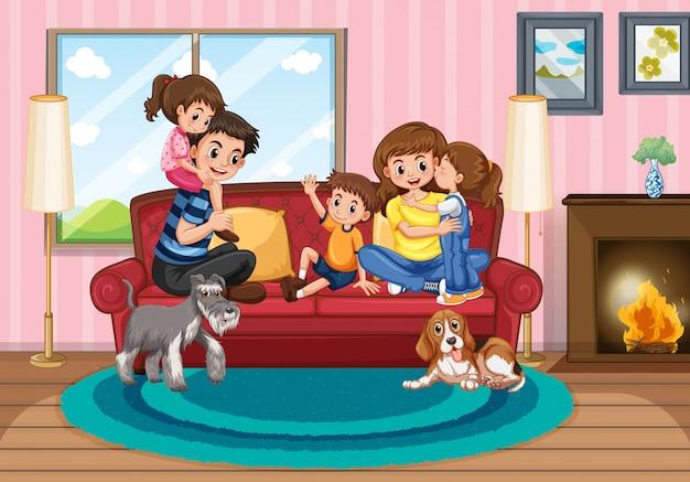 家でくつろぐ家族連れのシーン Premiumベクター