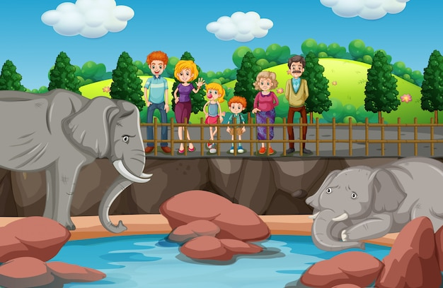 Scene with people looking at elephants at the zoo Free Vector