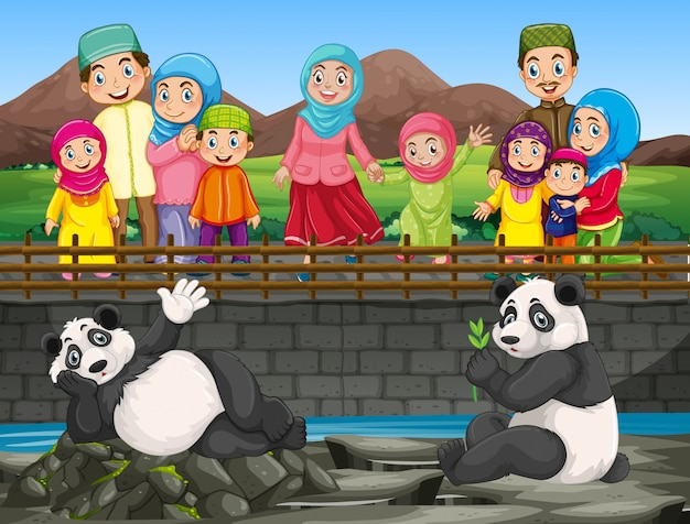 Scene with people looking at panda in the zoo Free Vector