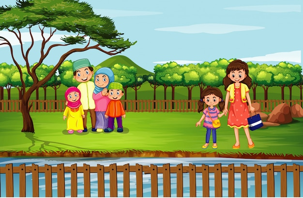 Scene with people in the park Free Vector