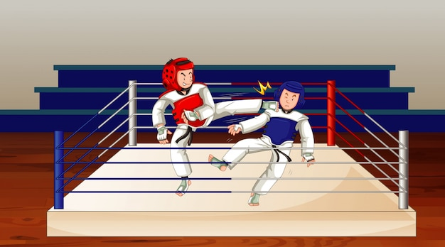Scene with people playing taekwondo in the ring Premium Vector
