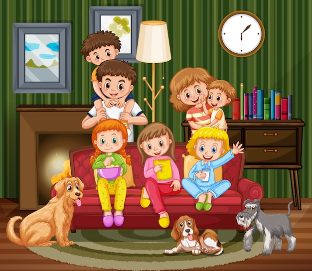 家族と一緒に家にいる人々とのシーン Premiumベクター
