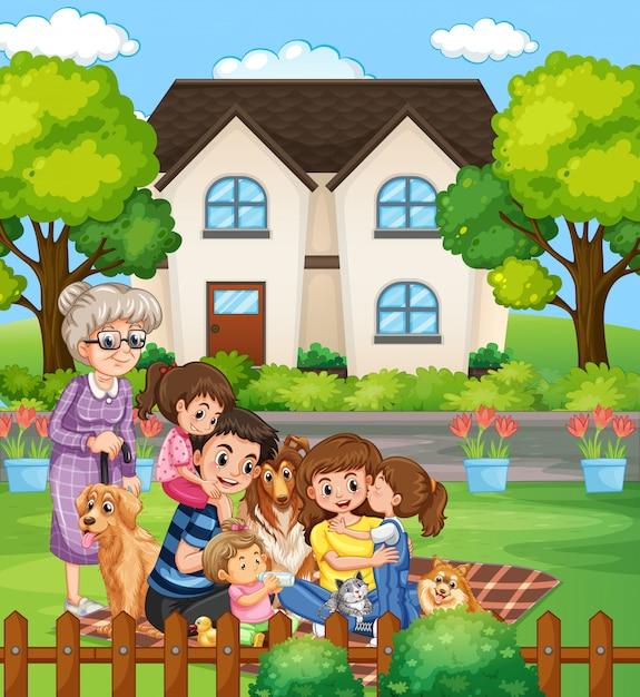 家族と一緒に家にいる人々とのシーン 無料ベクター