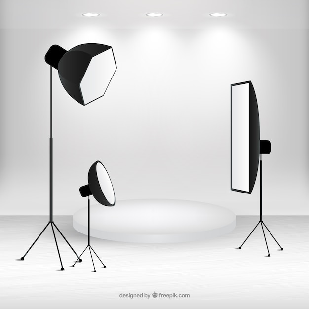 Scene with photography studio material Free Vector