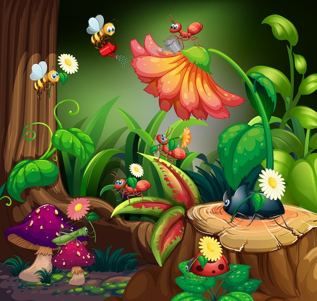 Free Vector   Scene with plants and insects in the garden