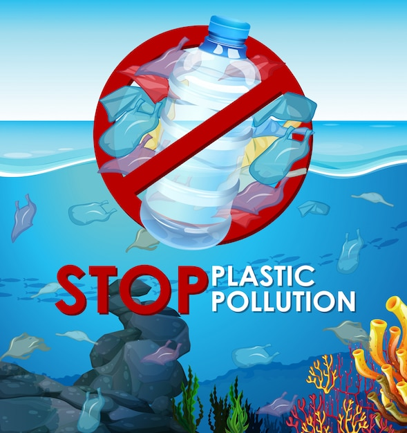 Scene  with plastic bags in the ocean Free Vector