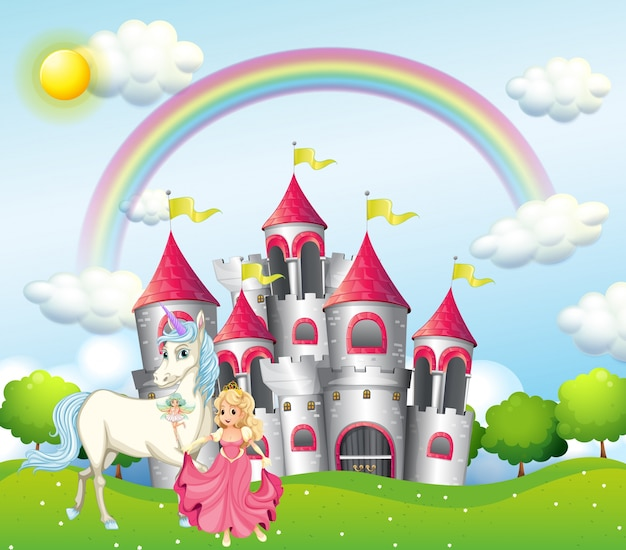 Scene with princess and unicorn at pink castle Premium Vector