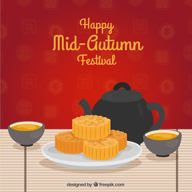 Scene with red background, mid autumn festival