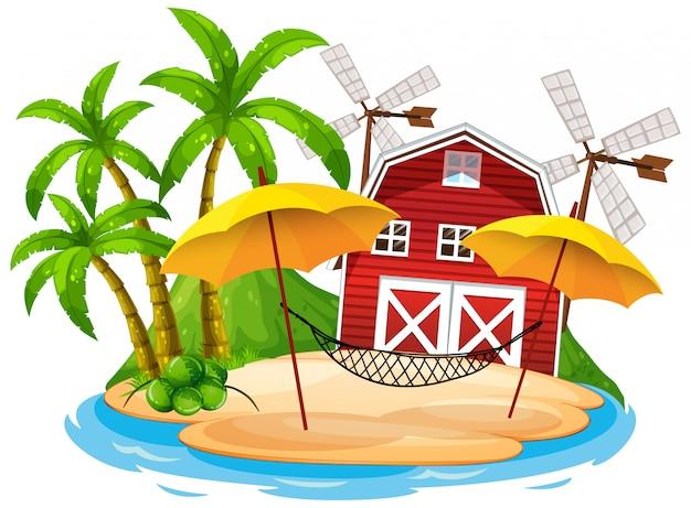 赤い納屋と白い背景のハンモックのシーン 無料ベクター
