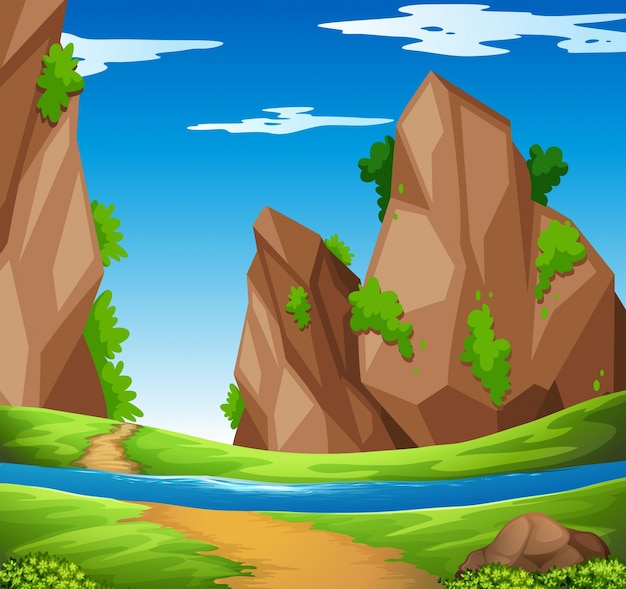 Scene with river and mountain\ illustration