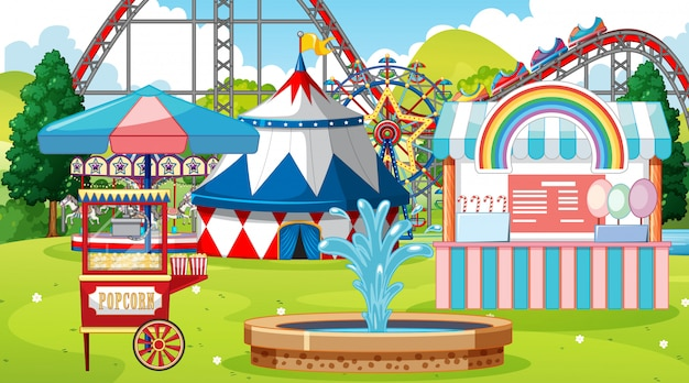 Scene with roller coaster and other rides in the park Free Vector