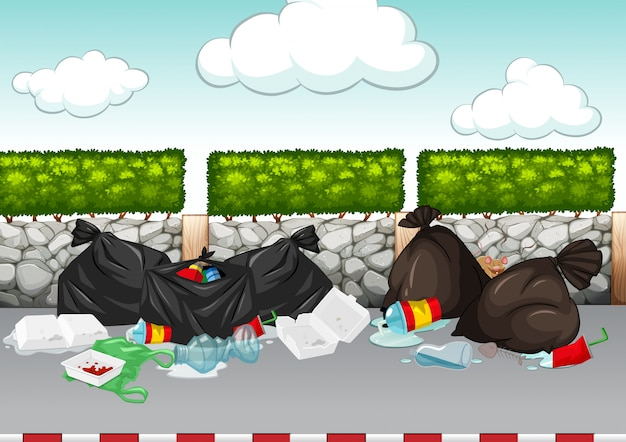 Scene with rubbish lying around the road Free Vector