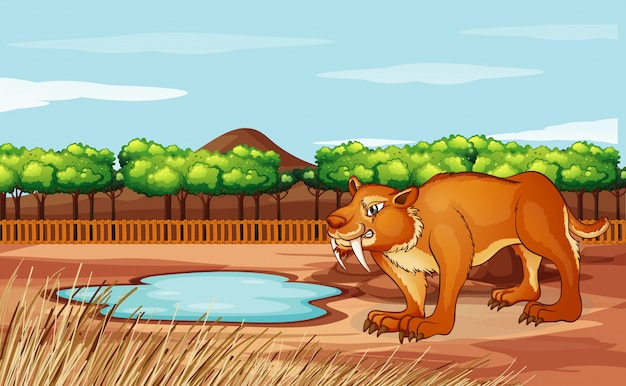 Scene with sabertooth in the park Free Vector