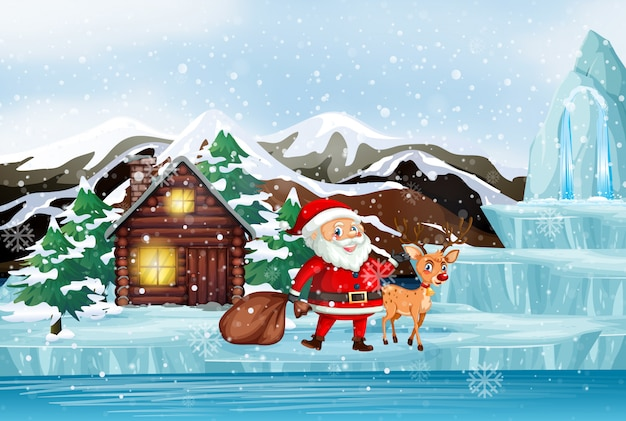 Scene with santa and reindeer Free Vector