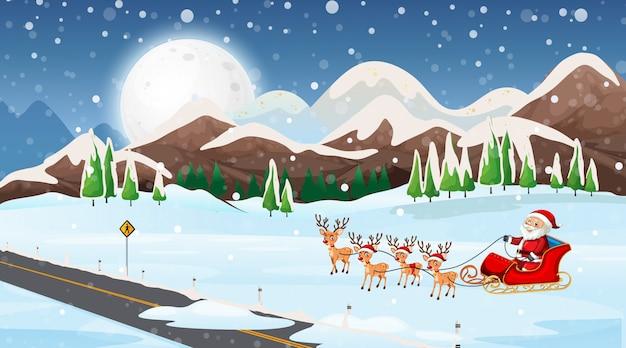 Scene with santa on the sleigh Free Vector