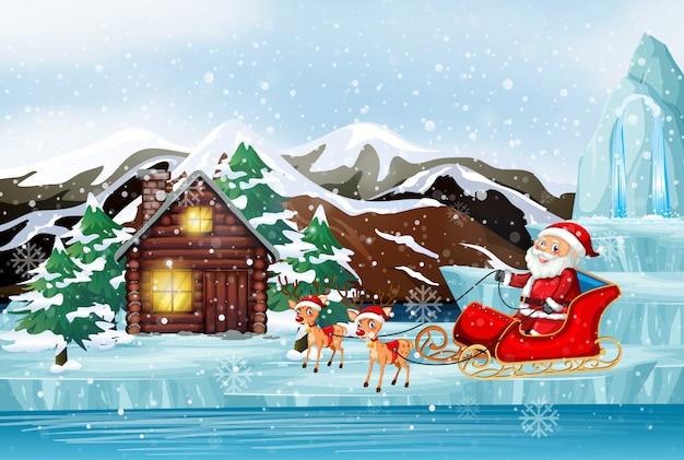 Scene with santa on sleigh Free Vector