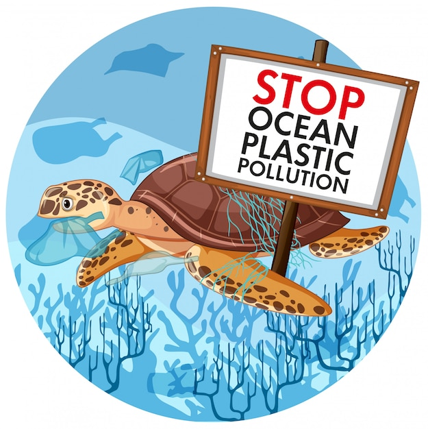 Scene  with sea turtle holding stop plastic pollution Free Vector