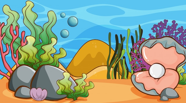 Scene with seaweed and pearl underwater Free Vector