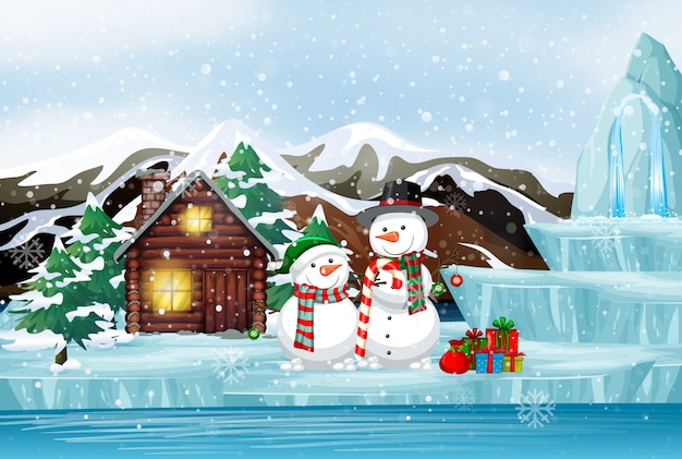 Scene with snowman and present in winter time Free Vector