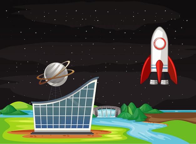 空を飛んでいる宇宙船のシーン 無料ベクター