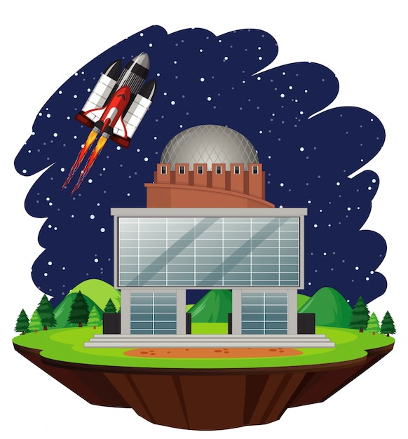 Scene with spaceship flying in the sky Free Vector