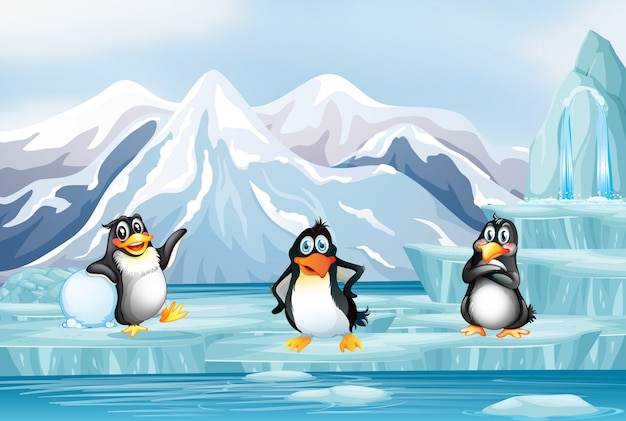 Scene with three penguins on ice Free Vector
