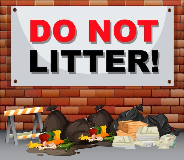 Scene with trash under the sign do not litter Free Vector