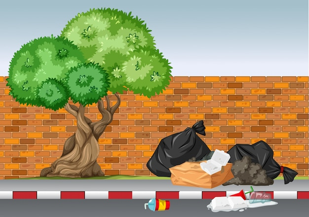 Scene with trash under the tree Free Vector