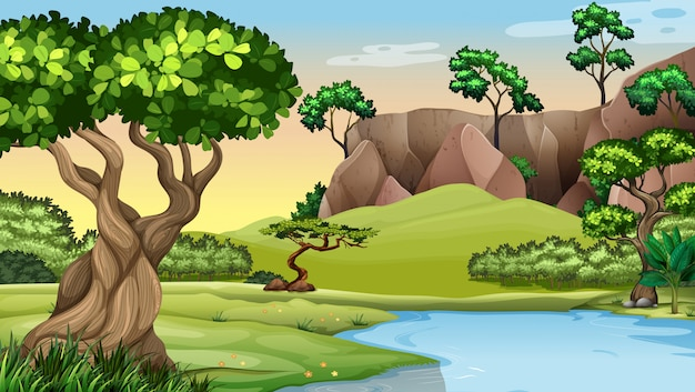 Scene with trees by the pond Free Vector