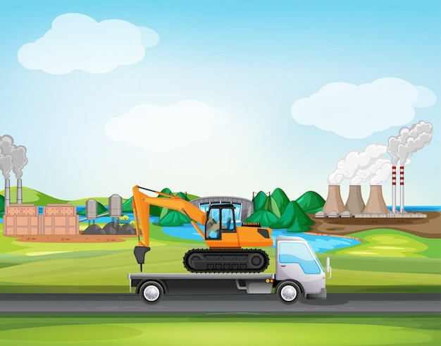 Scene with truck driving along the industrial zone Free Vector
