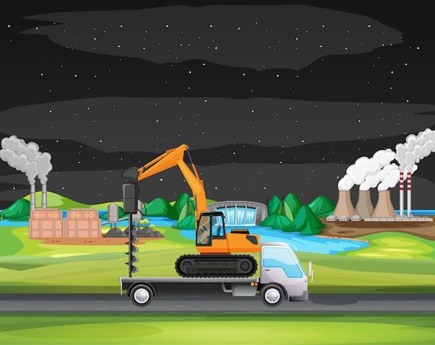 Scena con camion che guida lungo la zona industriale Vettore gratuito