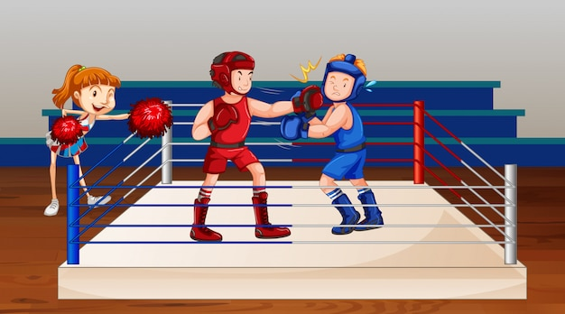 Scene with two athletes boxing on the stage Free Vector