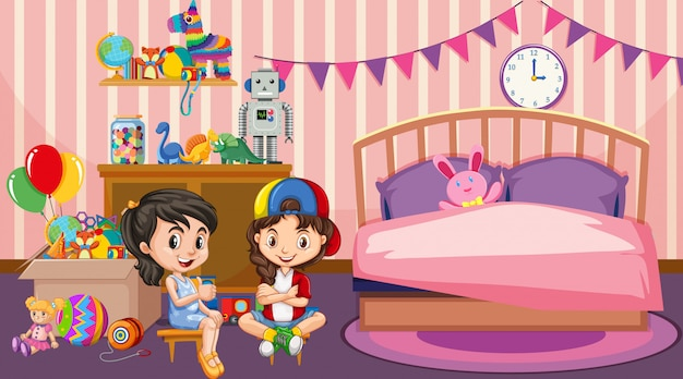 Scene with two girls playing in bedroom Free Vector