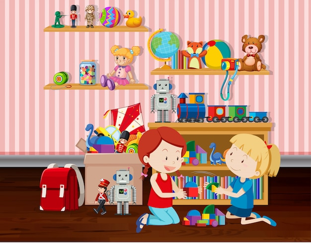 Scene with two girls playing blocks in the room illustration Premium Vector