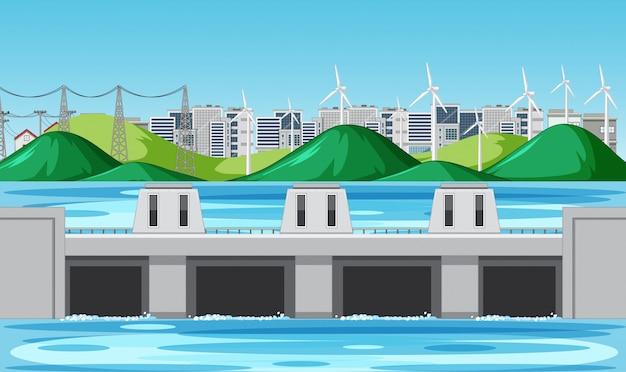 丘の上に水ダムと風力タービンがあるシーン 無料ベクター
