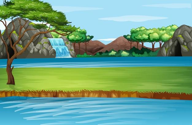 滝と川のある風景 Premiumベクター