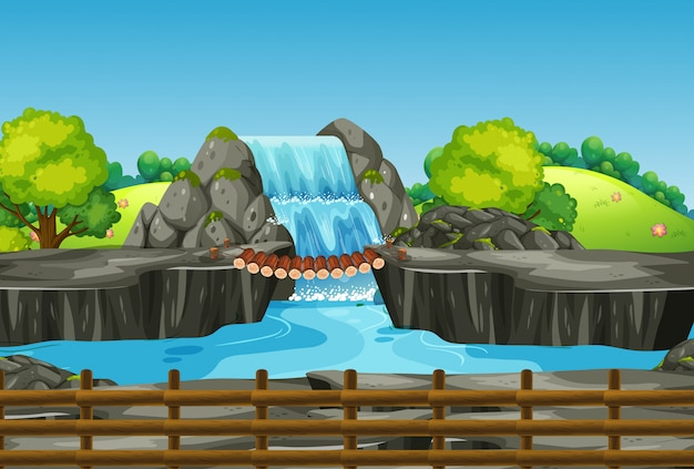 Scene with waterfall and grass Free Vector