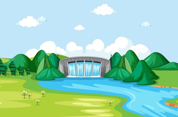 Scene with watergate and river Free Vector