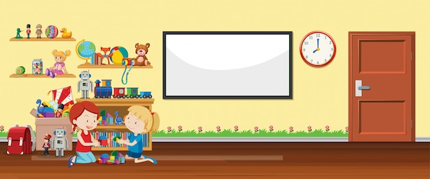 Scene with whiteboard and toys Free Vector