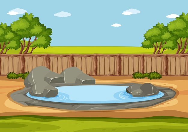 Scene with wild animals in the zoo at day time Premium Vector