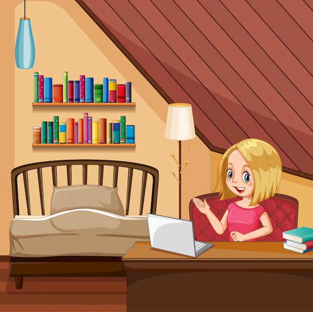 Scene with woman working on computer in the bedroom Free Vector