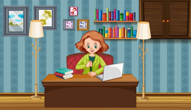 Scene with woman working on computer at home Free Vector