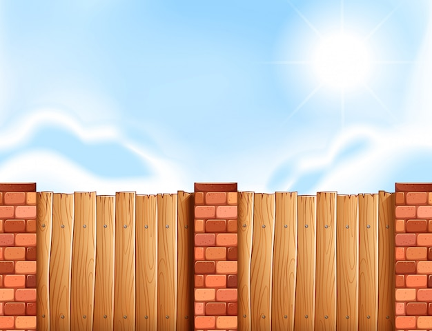 Scene with wooden fence Free Vector