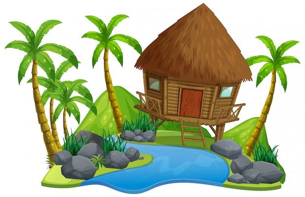 Scena con capanna di legno e fiume su sfondo bianco Vettore gratuito
