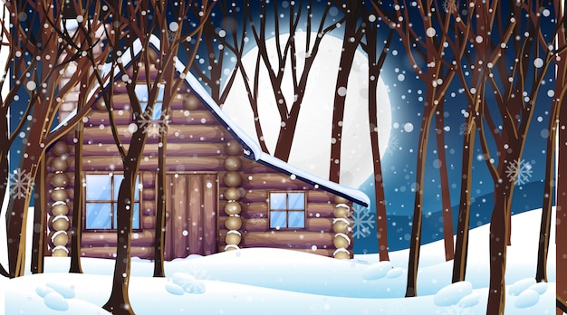 Scene with wooden hut in snow winter Free Vector