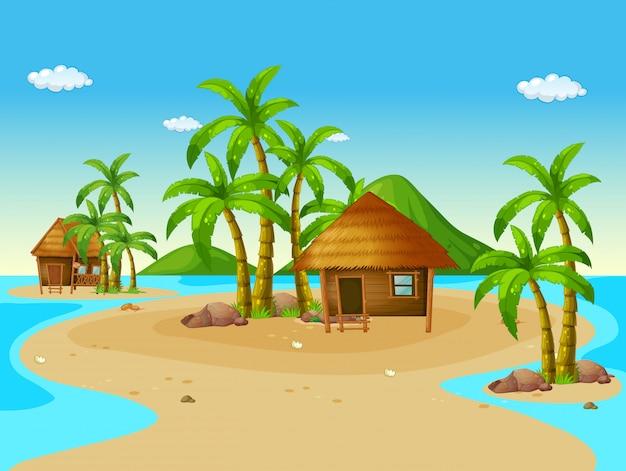 Scene with wooden huts on island Premium Vector