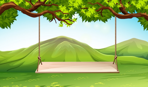 Scene with wooden swing in the park Free Vector